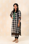 Long Chettinad Cotton Kurta with Ajrakh - Tina Eapen Design Studio