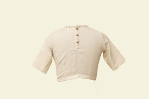 Plain cream Crape Blouse ( SMALL SIZE) - Tina Eapen Design Studio