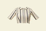 Striped  Cream Crape Blouse (SMALL SIZE) - Tina Eapen Design Studio