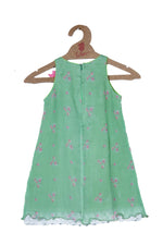 PRINTED CHIFFON DRESS IN GREEN APPLE