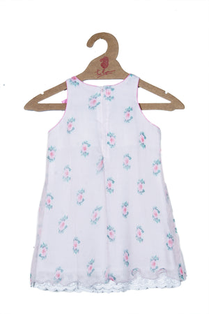 PRINTED CHIFFON DRESS IN PALE PINK