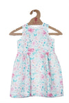PRINTED DRESS IN MUL COTTON-PINK SMALL FLOWERS