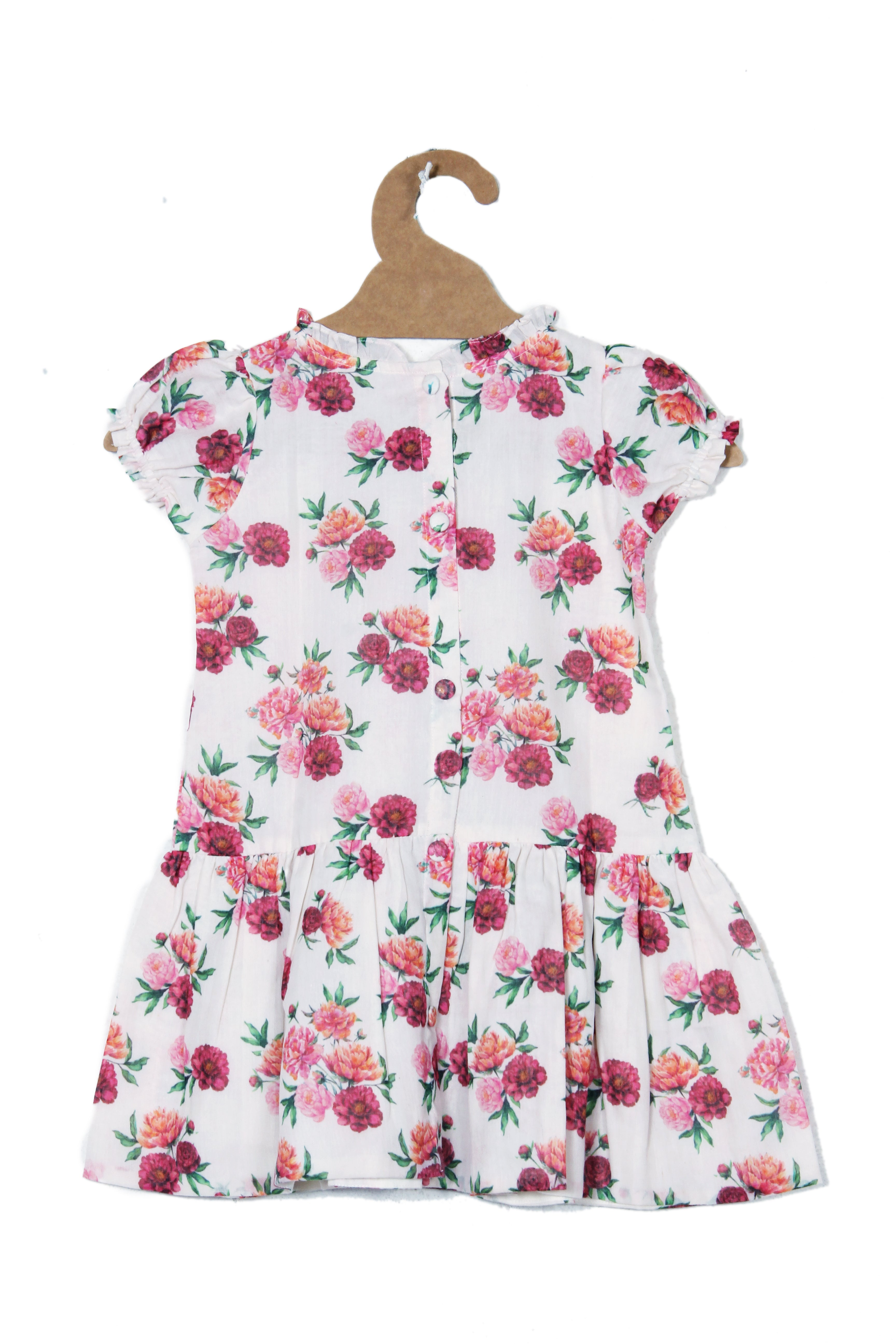 PRINTED DRESS IN MUL COTTON-RED AND MAROON SMALL FLOWERS