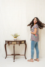 Short Silk Kurti-Grey - Tina Eapen Design Studio
