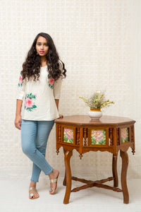 Short Silk Kurti-White - Tina Eapen Design Studio