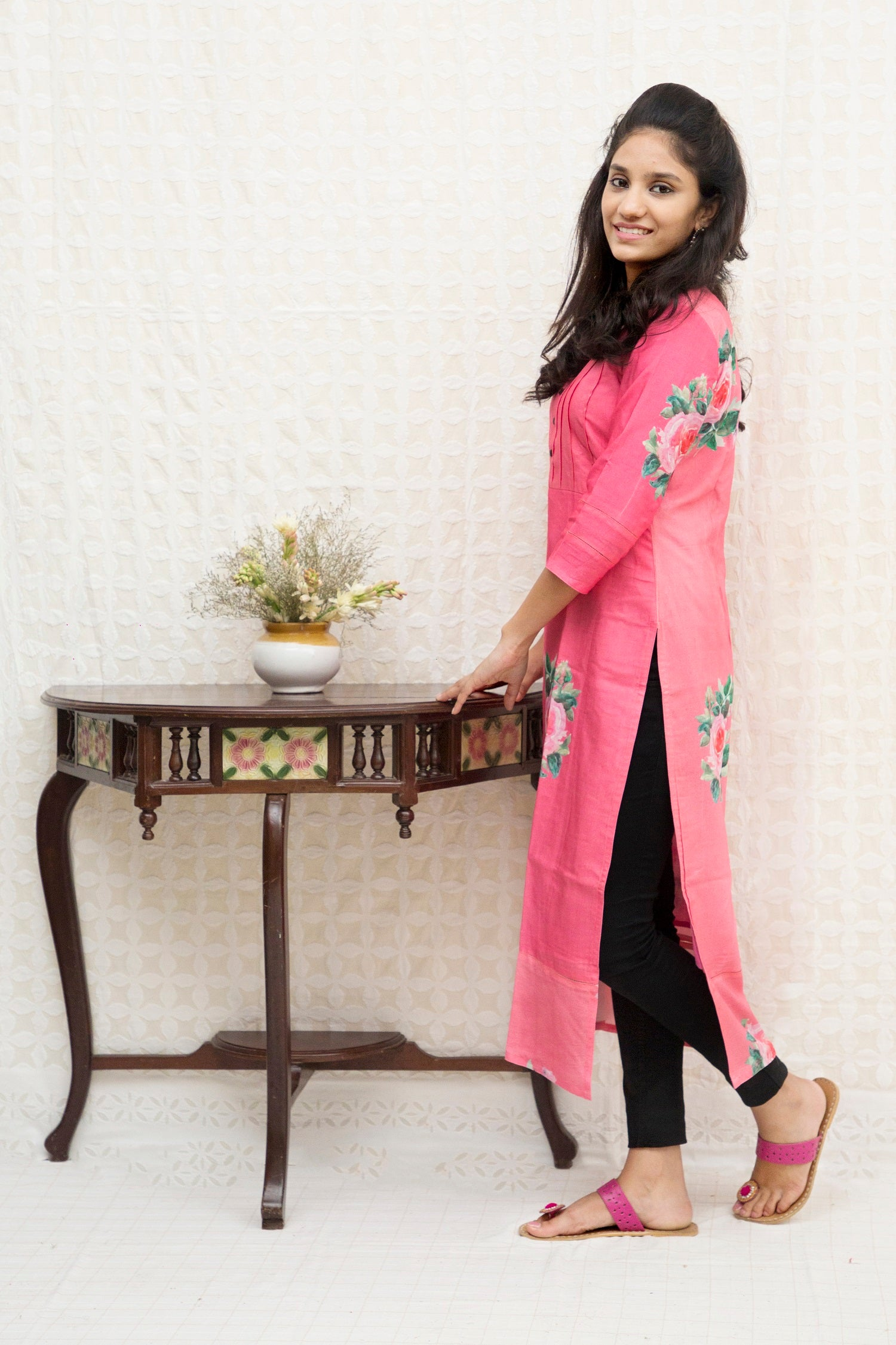 Long Slit Silk Kurta-Pink - Tina Eapen Design Studio