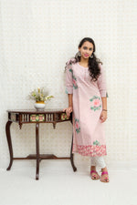 Long Slit Cotton Kurta-Baby Pink - Tina Eapen Design Studio