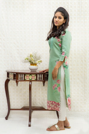 Long Slit Cotton Kurta-Teal Green - Tina Eapen Design Studio