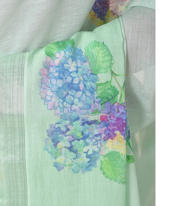 BLUE COTTON KASAVU WITH VINTAGE FLOWERS