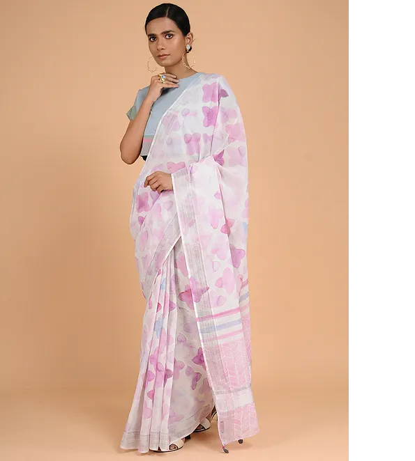 PALE MAUVE KASAVU COTTON WITH GEOMETRIC PRINT