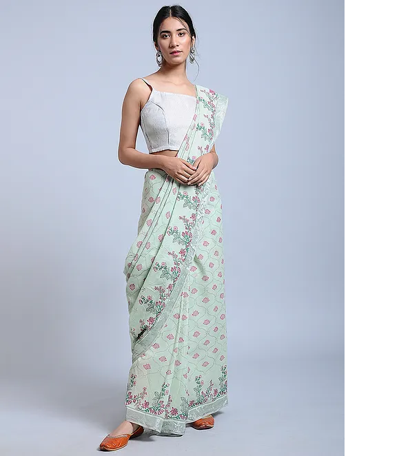 Teal green linen saree with hand block print