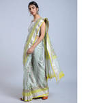 GREY HAND WOVEN CHANDERI SILK SAREE WITH HANDBLOCK PRINT