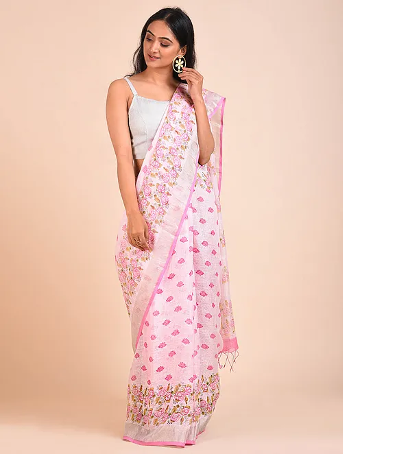 PRETTY PINK HANDWOVEN LINEN SAREE WITH HAND BLOCK PRINTS