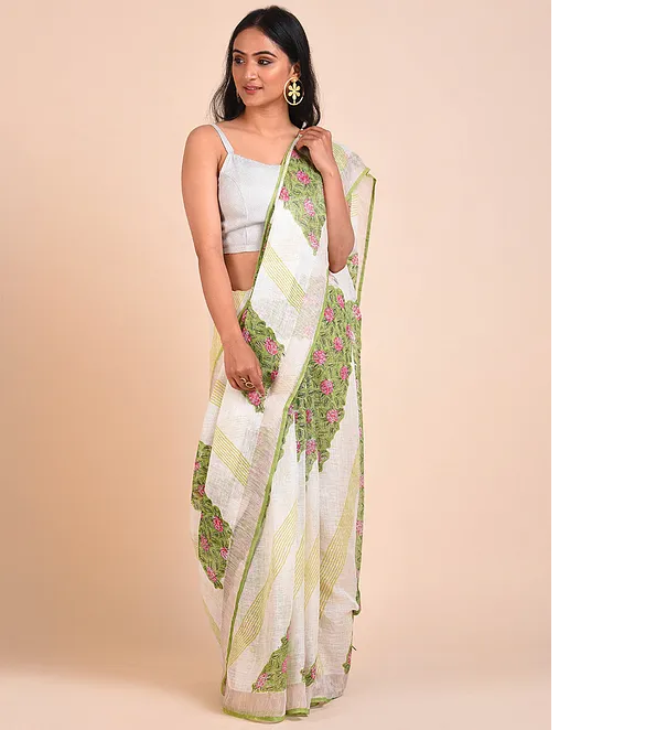 PALE YELLOW HANDWOVEN LINEN SAREE WITH HAND BLOCK PRINTS