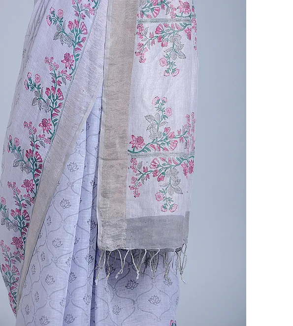 PALE GREY HAND WOVEN LINEN SAREE WITH HANDBLOCK PRINT