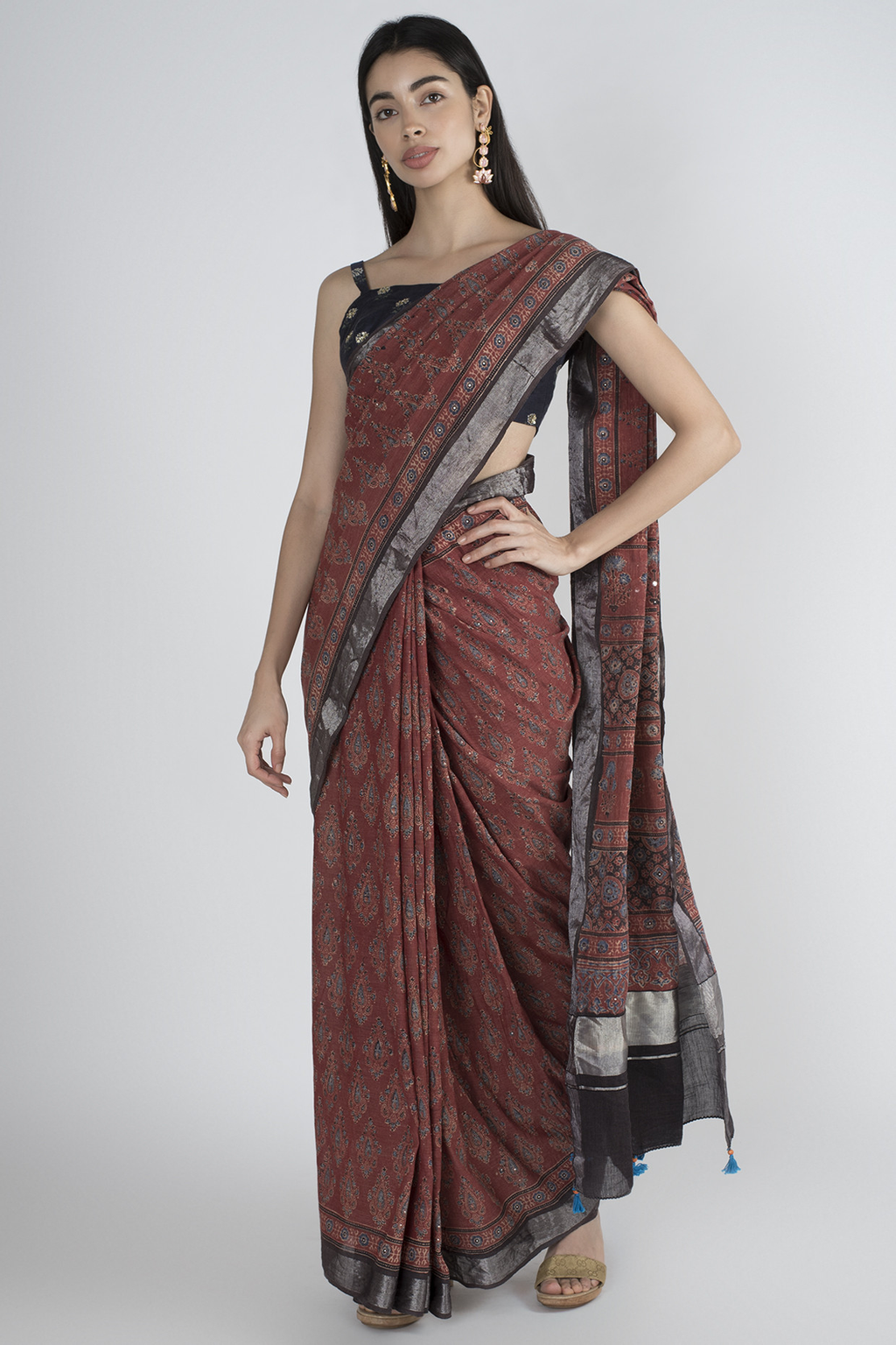MADDER COTTON SAREE WITH HANDBLOCK PRINTED IN AJRAK