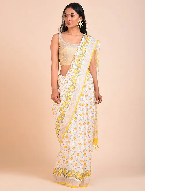LIGHT YELLOW HAND WOVEN LINEN SAREE WITH HANDBLOCK PRINT