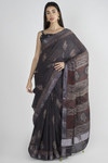 BLACK COTTON SAREE WITH HANDBLOCK PRINTED IN AJRAK