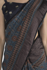 BLUE HANDWOVEN KHADI SAREE WITH HANDBLOCK PRINT IN AJRAK