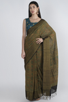 GREEN HANDWOVEN KHADI SAREE WITH HANDBLOCK PRINT IN AJRAK