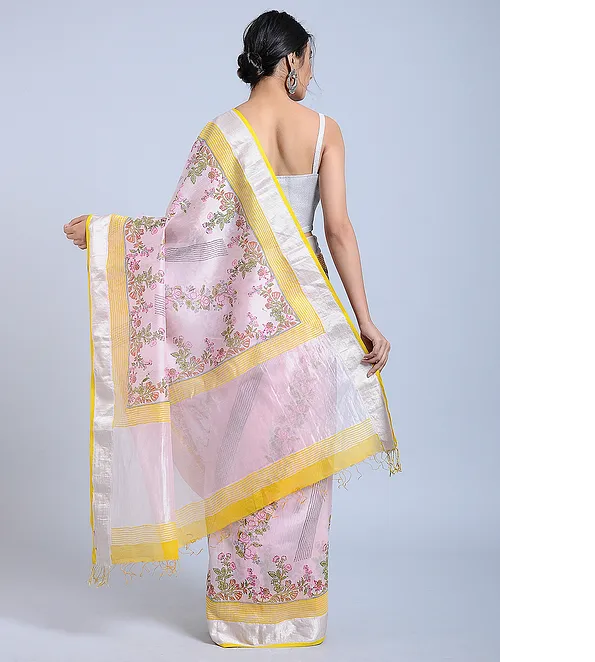 BLUISH PINK HAND WOVEN CHANDERI SILK SAREE WITH HANDBLOCK PRINT