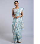SKY BLUE  HAND WOVEN CHANDERI SILK SAREE WITH HANDBLOCK PRINT