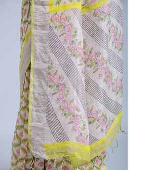 OFF WHITE HAND WOVEN LINEN SAREE WITH HANDBLOCK PRINT AND MUKAISH WORK