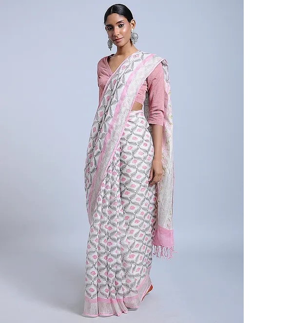 PALE PINK HAND WOVEN LINEN SAREE WITH HANDBLOCK PRINT