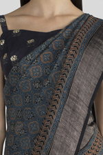 INDIGO LINEN SAREE WITH HANDBLOCK PRINTED IN AJRAK