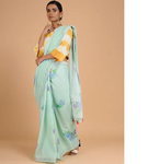 LIGHT BLUE COTTON KASAVU WITH VINTAGE FLORAL PRINTS