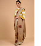 COFFEE BROWN HANWOVEN LINEN SAREE WITH PRINT