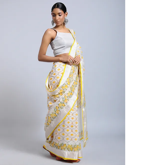 OFF WHITE HAND WOVEN CHANDERI SILK SAREE WITH HANDBLOCK PRINT