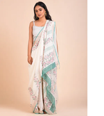 Off white linen saree with hand block print