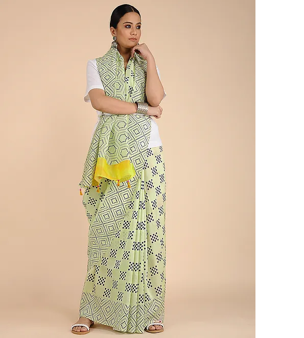 LIME GREEN HANDWOVEN CHANDERI SILK SAREE IN GEOMETRIC PRINTS