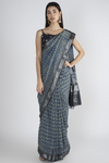 BLUE COTTON SAREE WITH HANDBLOCK PRINTED IN AJRAK
