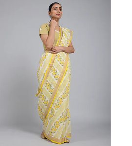 HANDBLOCK PRINTED COTTON KASAVU -YELLOW