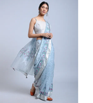LIGHT BLUE HANDWOVEN LINEN SAREE WITH HAND BLOCK PRINT