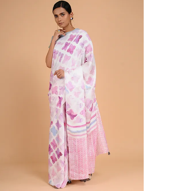 PALE MAUVE MODAL SILK WITH GEOMETRIC PRINT