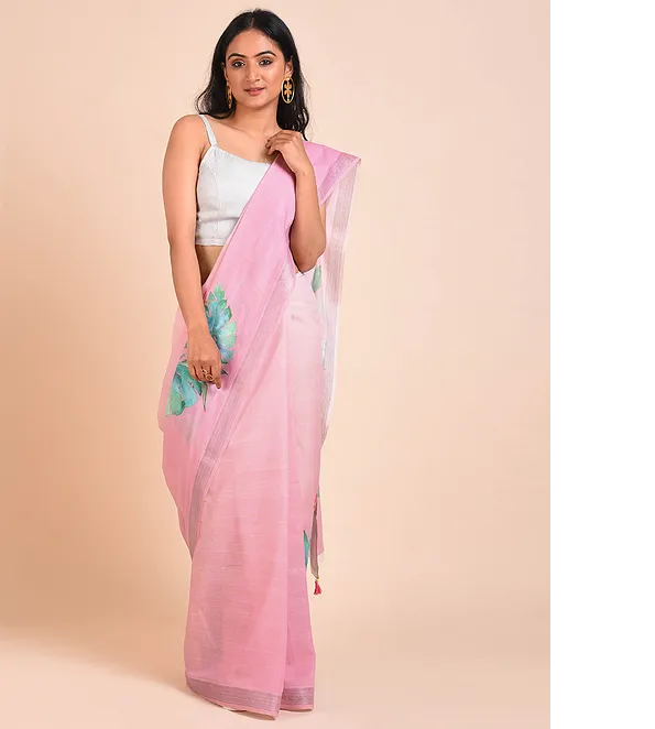 PINK COTTON KASAVU SAREE WITH VINTAGE FLORAL PRINTS