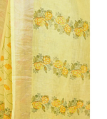 YELLOW HAND WOVEN LINEN SAREE WITH HANDBLOCK PRINT