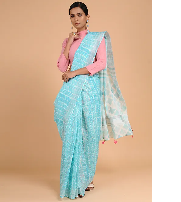 SKY BLUE KASAVU COTTON WITH GEOMETRIC PRINT