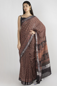 RED  COTTON SAREE WITH HANDBLOCK PRINTED IN AJRAK