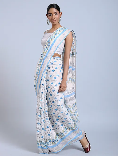 SKY GREY HAND WOVEN LINE SAREE WITH HANDBLOCK PRINT