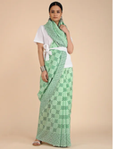 ACQUA GREEN HANDWOVEN CHANDERI SILK SAREE IN GEOMETRIC PRINTS