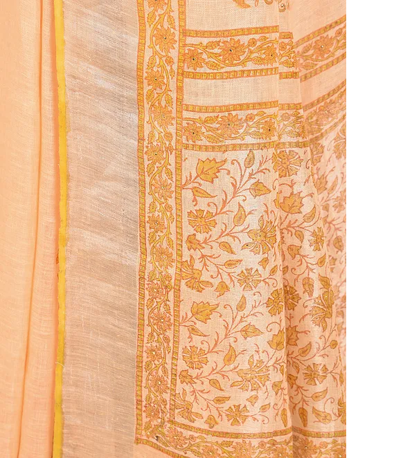 ORANGE HAND WOVEN LINEN SAREE WITH HANDBLOCK PRINT AND MUKAISH WORK