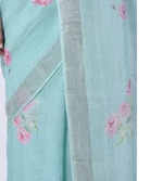 BLUE HAND BLOCK PRINTED LINEN SAREES WITH VINTAGE ROSE CLUSTERS