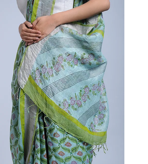 GREISH BLUE HANDWOVEN LINEN SAREE WITH HAND BLOCK PRINTS