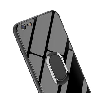 Glass 360° Rotation Ring Kickstand Tempered Glass Protective Case for iPhone 6 6s 7 8 Plus X XS XR XS MAX