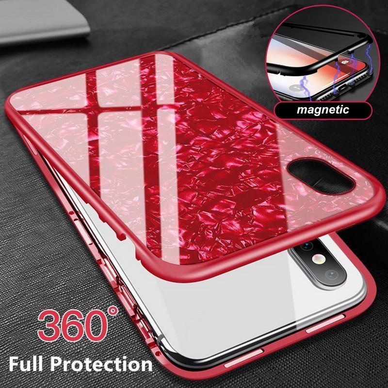 Magnetic Shell Pattern Glossy PC Tempered Glass 360 Full Protective Case Cover For iPhone X XS XS Max XR