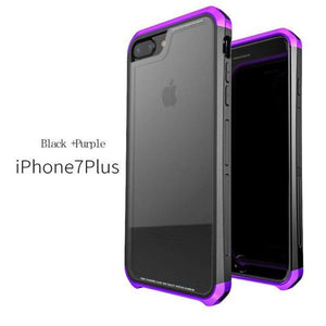 Luphie iPhone 6 7 6 Plus 7 Plus Metal Bumper Case With Tempered Glass Back
